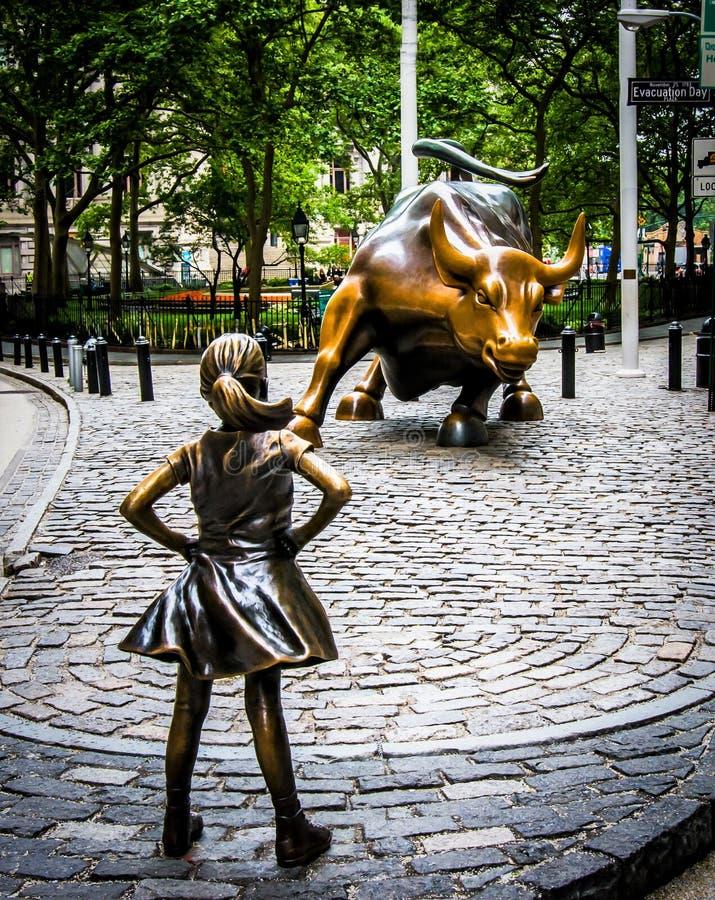 无所畏惧的女孩和充电的公牛 免版税库存照片