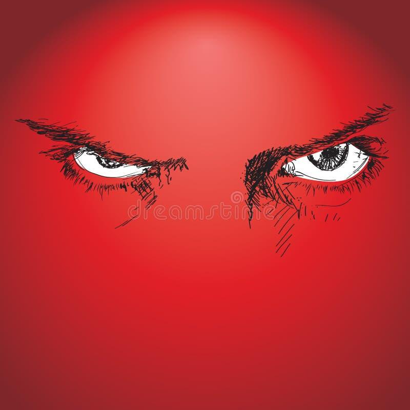 无所畏惧的眼睛 向量例证