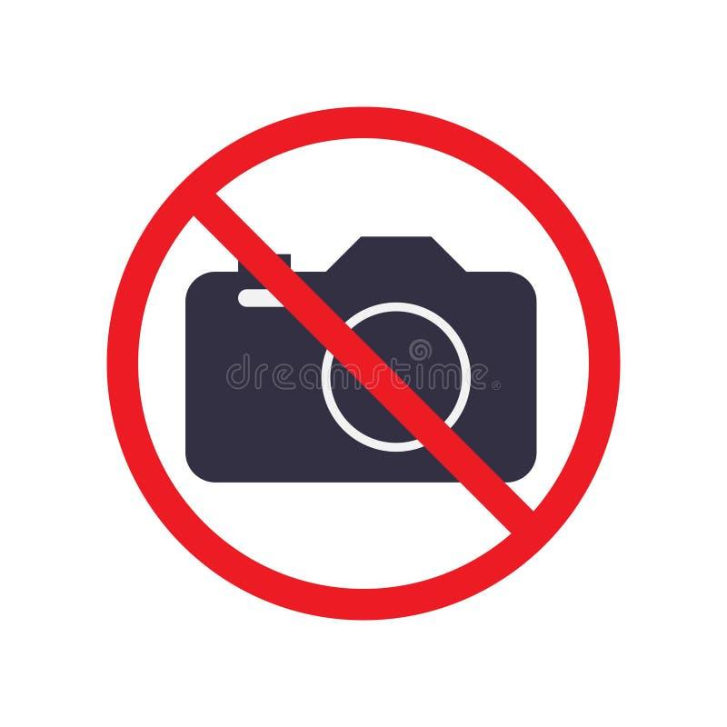 无摄影图标 具有禁止符号的数码相机标志 矢量图eps10插图 向量例证