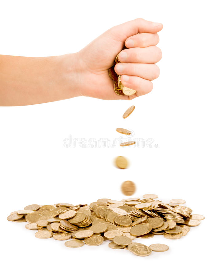 无法控制落的硬币 库存照片