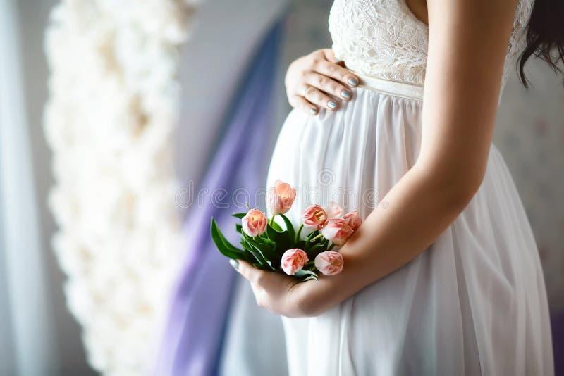 无法认出的孕妇特写镜头与移交在白色鞋带礼服的肚子有桃红色春天郁金香的 免版税图库摄影
