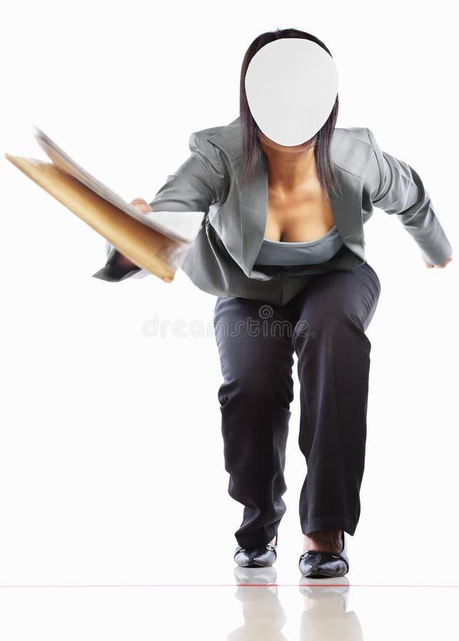 无法认出businesswomangiving的文件 库存照片