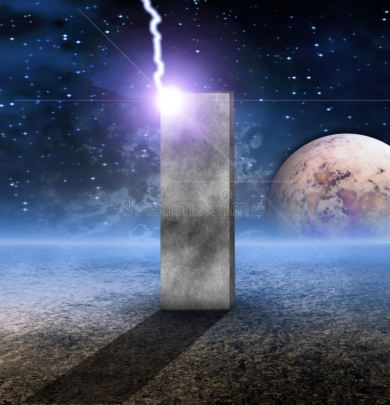 无生命的巨型独石行星 向量例证