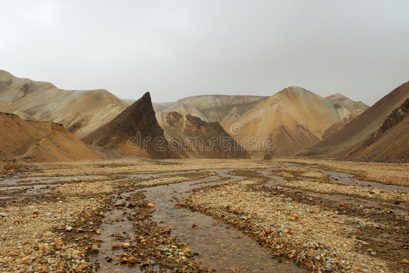 无生命的橙色岩石和一条河在沙尘暴,冰岛期间 库存图片