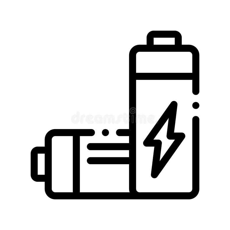 无用的电池传染媒介稀薄的线象 库存例证
