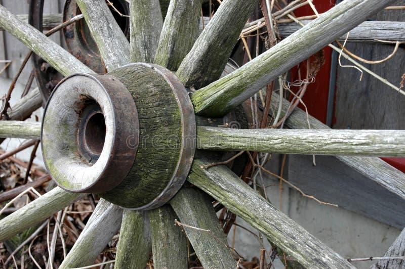 无盖货车被风化的轮子 免版税库存照片