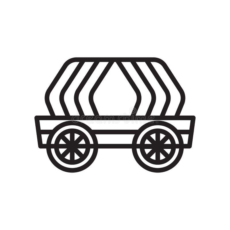 无盖货车象在白色背景和标志隔绝的传染媒介标志 皇族释放例证