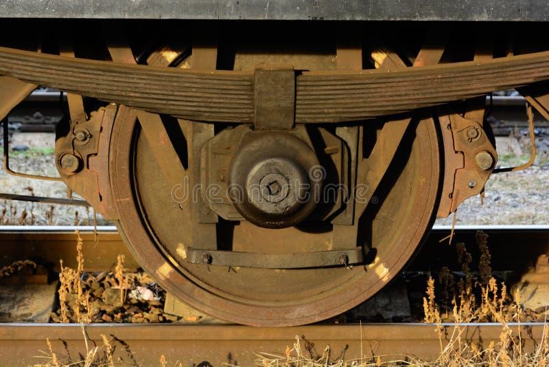 从无盖货车的轮子 库存图片