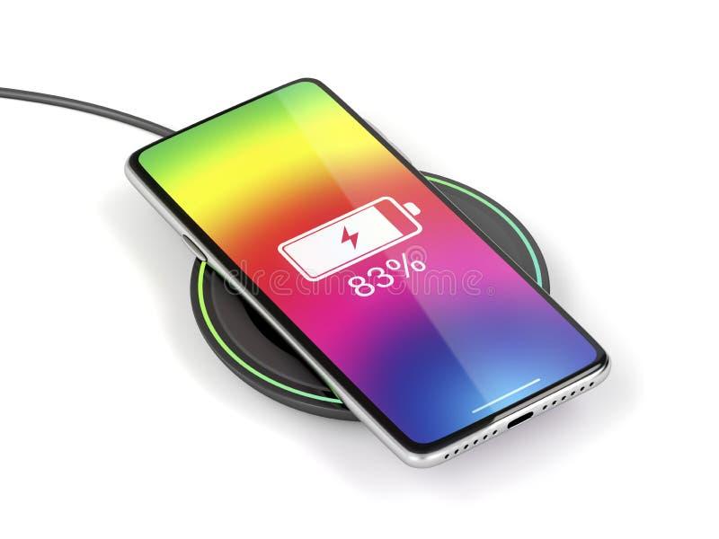 无线充电智能手机 向量例证
