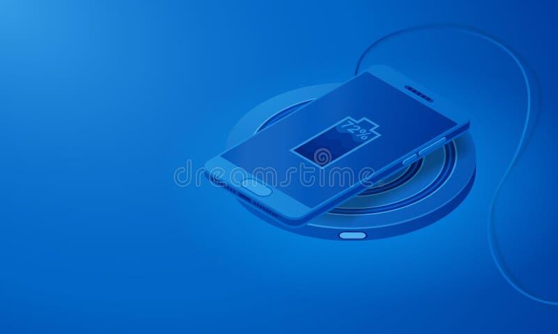 无线充电的技术 智能手机和设备等轴测图  库存例证