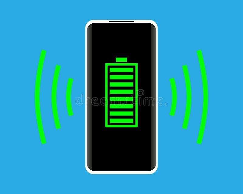 无线充电的概念 有充分的电池显示的智能手机在屏幕上 r 向量例证