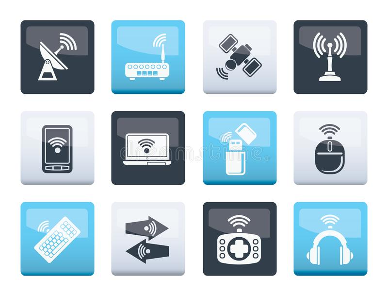 无线和通讯技术象在颜色背景 库存例证