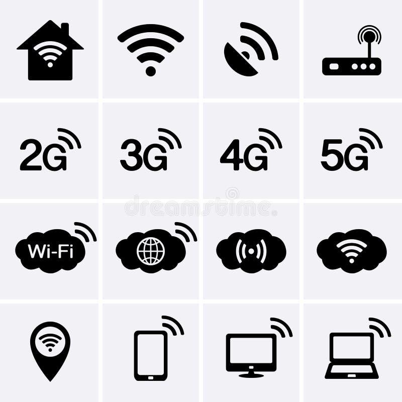 无线和wifi象 2G、3G、4G和5G技术标志 皇族释放例证