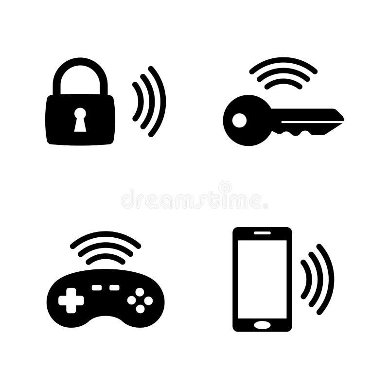 无线小配件,聪明的议院 简单的相关传染媒介象 库存例证