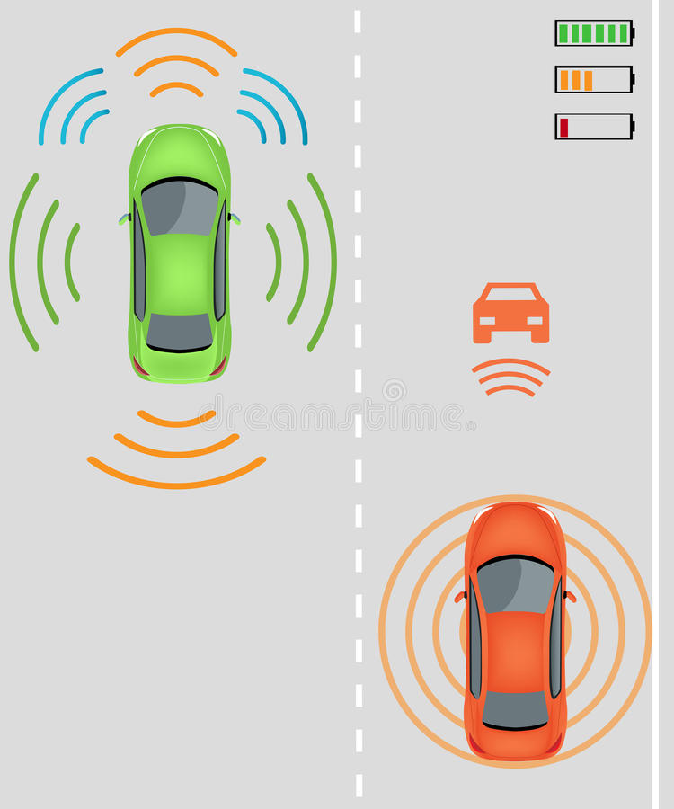 无线收费对电动车 向量例证