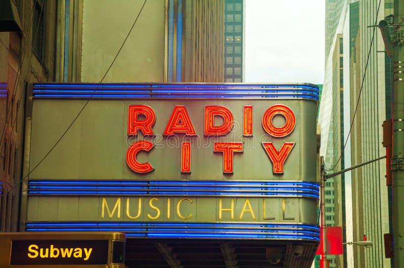 无线电城音乐厅标志 库存照片