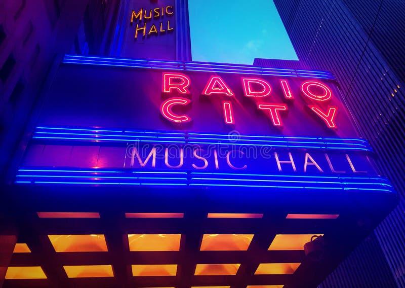 无线电城音乐厅标志 库存图片