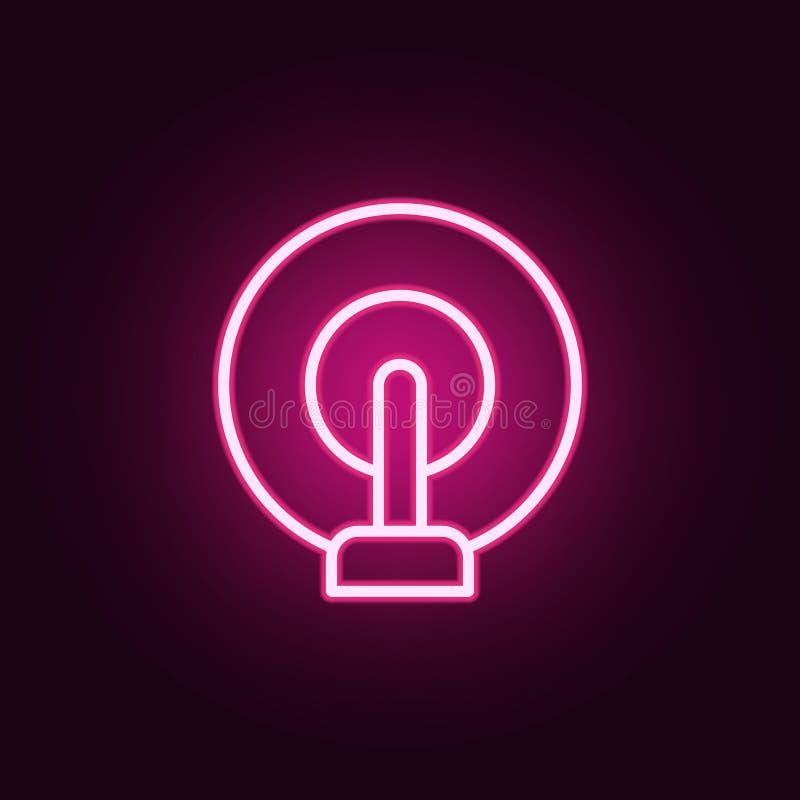 无线电波象 网的元素在霓虹样式象的 网站的简单的象,网络设计,流动应用程序,信息图表 库存例证