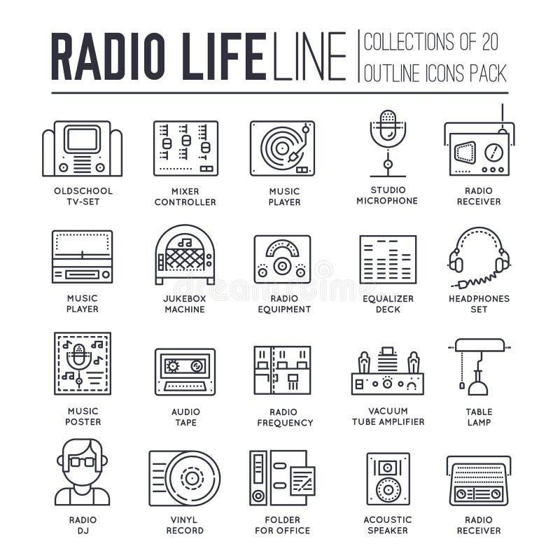 无线电生活天稀薄的线汇集象集合 守旧派电视equpment和工作区在有Dj赠送者人的办公室和 向量例证