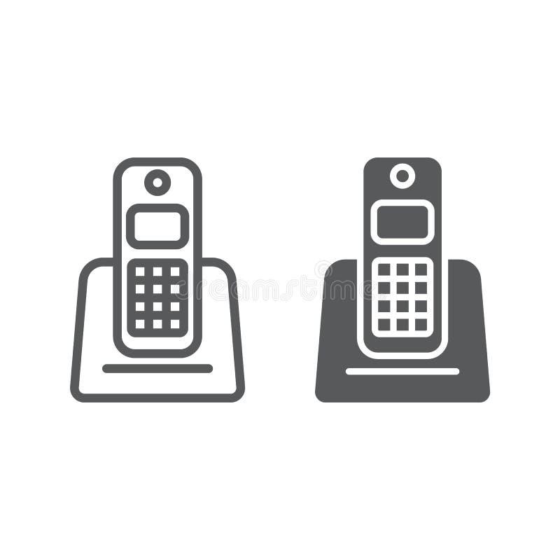 无线电话线和纵的沟纹象、装置和通信,电话标志,向量图形,一个线性样式 向量例证