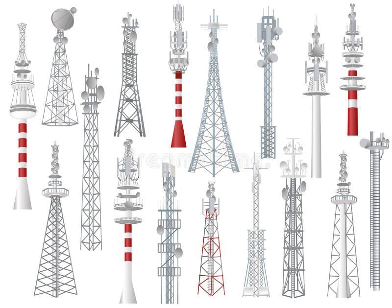 无线电铁塔传染媒介在有网络无线信号驻地的城市耸立了通讯技术天线建筑 库存例证
