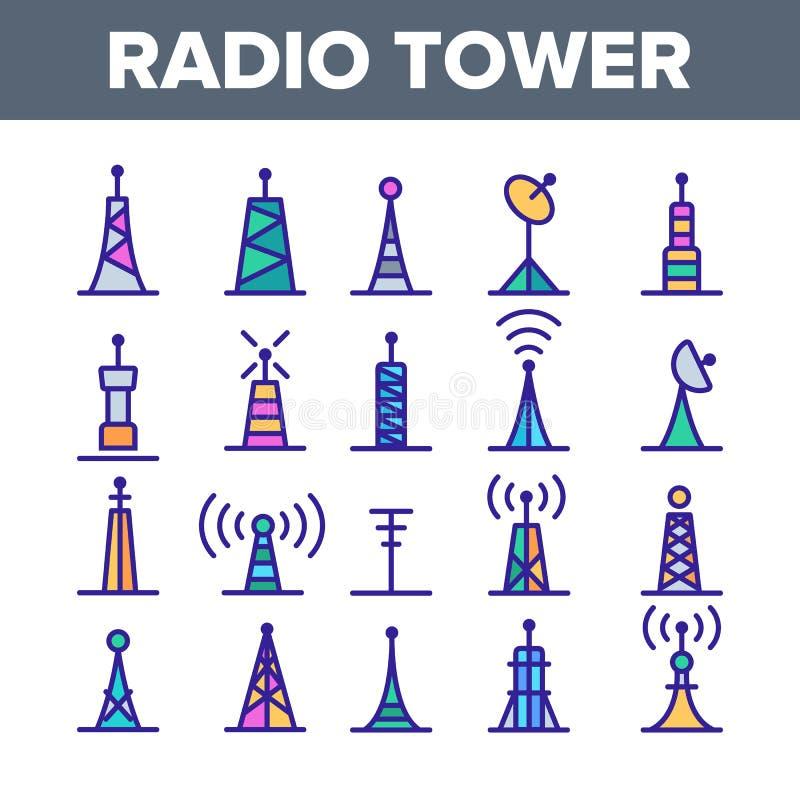 无线电铁塔和帆柱导航线性象集合 向量例证