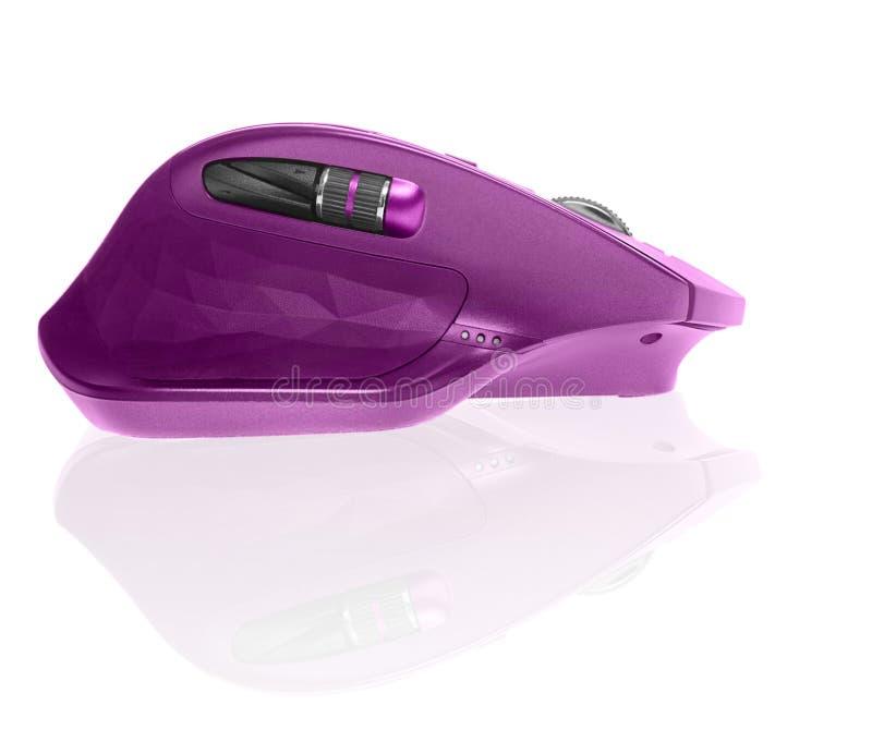 无线计算机鼠标 桃红色颜色 背景查出的白色 库存照片