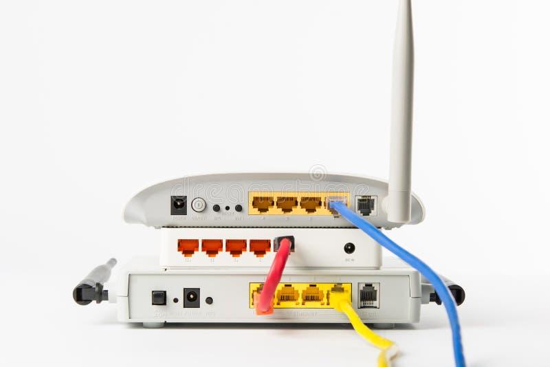 无线调制解调器路由器网络插孔 免版税库存图片