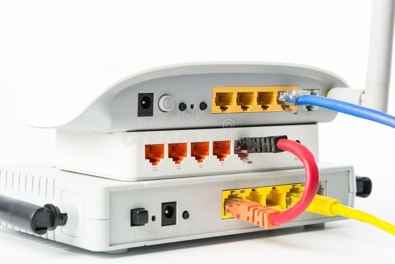 无线调制解调器路由器网络插孔 免版税库存照片