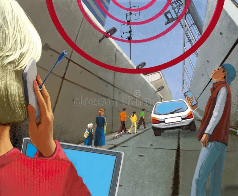 无线通信在城市 阴沉的具体隧道和人有小配件的 向量例证