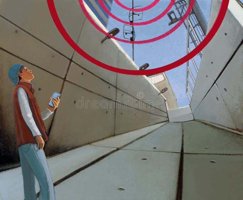 无线通信在城市 阴沉的具体隧道和少年有智能手机的 皇族释放例证