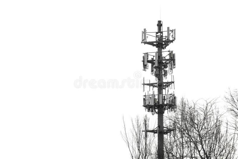 无线通信塔单色报警信号的警报器 免版税库存照片