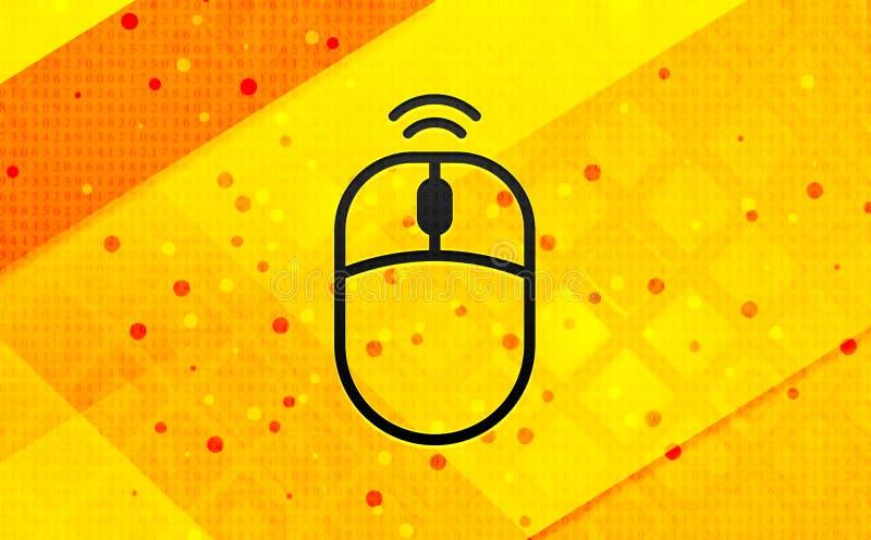 无线鼠标象摘要数字横幅黄色背景 向量例证