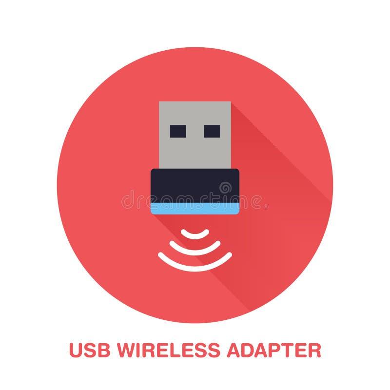 无线usb适配器平的样式象 Wifi技术设备标志 通讯器材的传染媒介例证为 库存例证