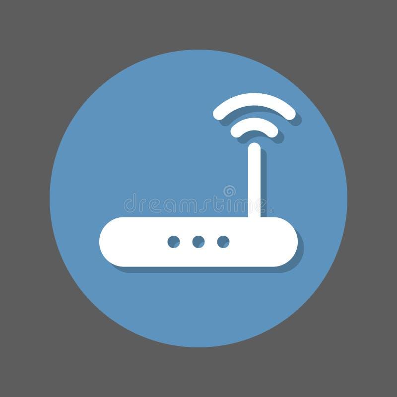 无线Wi-Fi路由器平的象 高速互联网连接圆的五颜六色的按钮,与屏蔽效应的圆传染媒介标志 皇族释放例证