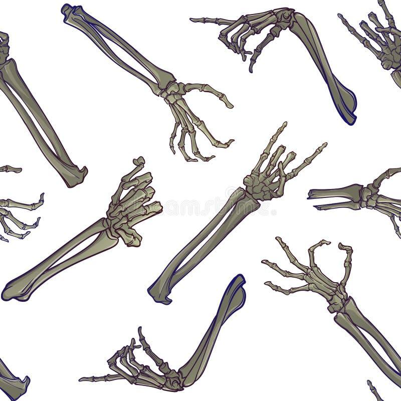 无缝万圣节的模式 人的手骨头以各种各样的姿态 元素的混乱发行 库存例证