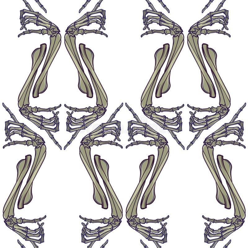 无缝万圣节的模式 人的手骨头以各种各样的姿态 规则垂直的节奏 向量例证