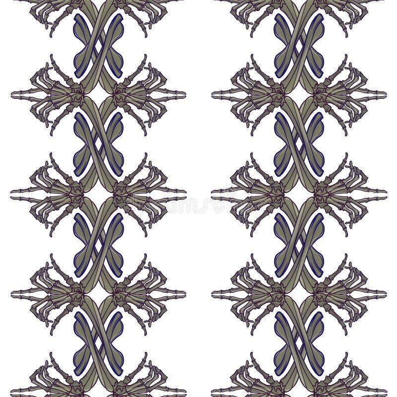 无缝万圣节的模式 人的手骨头以各种各样的姿态 规则垂直的节奏 皇族释放例证