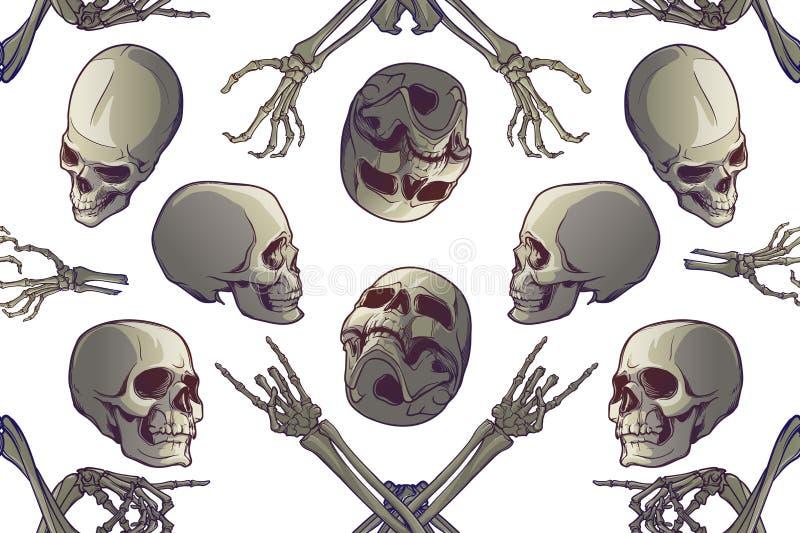 无缝万圣节的模式 人的手骨头和头骨以各种各样的视角 库存例证