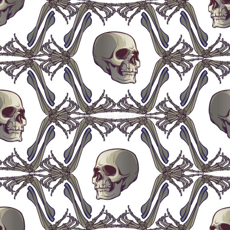 无缝万圣节的模式 人的手骨头和头骨 规则geometryc节奏 库存例证