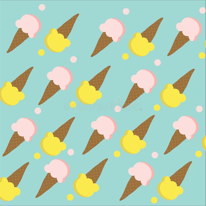 无缝与桃红色和黄色颜色的圆锥形的冰淇淋杯在深蓝b 皇族释放例证