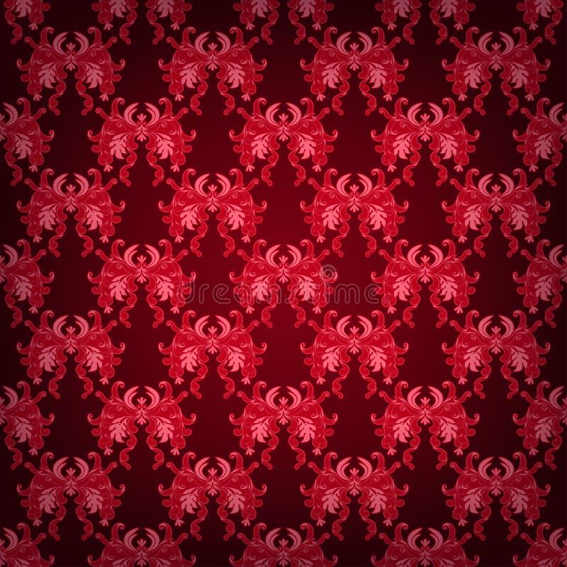 无缝与锦缎花饰 向量例证