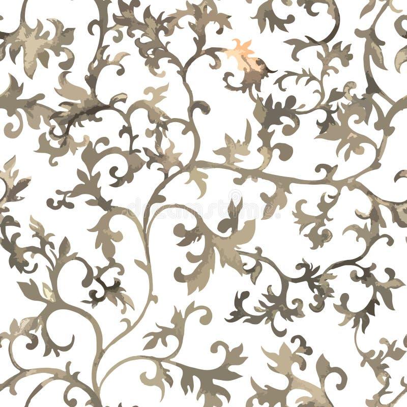 无缝中国的模式 水彩与花饰的样式墙纸 库存例证