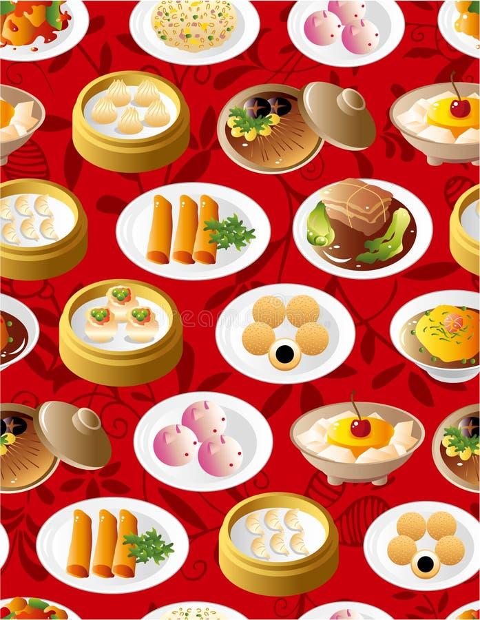 无缝中国食物的模式 皇族释放例证