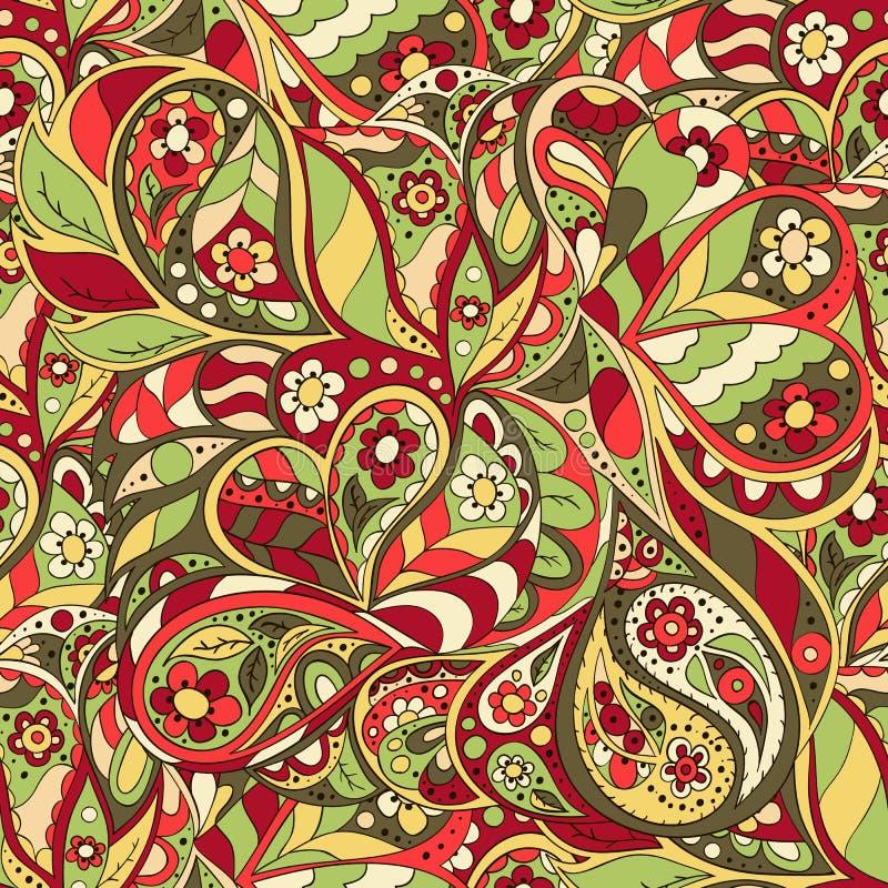 无缝乱画的模式 花卉乱画波浪样式 库存例证