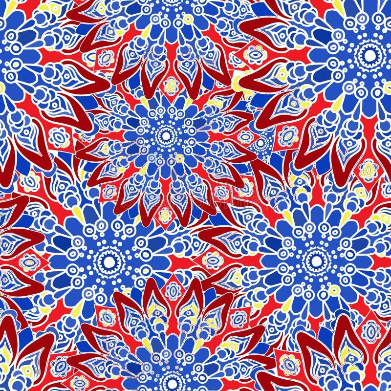 无缝五颜六色的模式 东方样式 织品或墙纸纹理 皇族释放例证