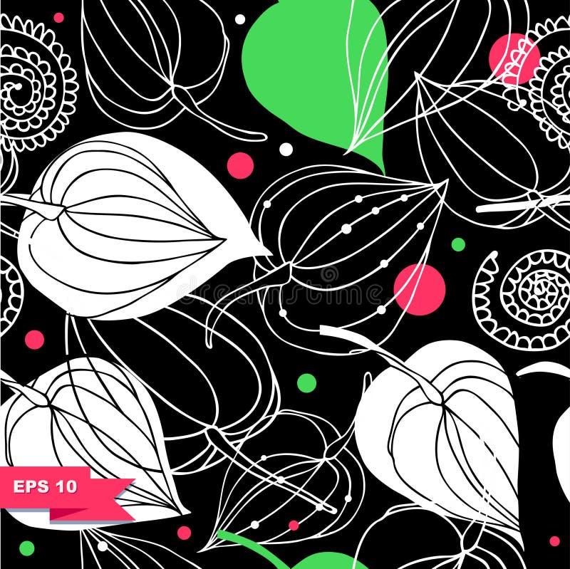 无缝五颜六色的花卉的模式 与花的鞋带背景 幻想装饰物纹理 库存例证