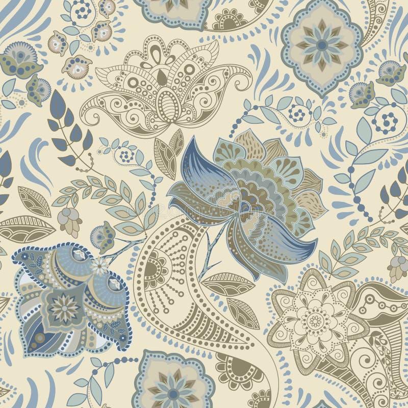 无缝五颜六色的花卉的模式 佩兹利装饰品 装饰花 为织品,卡片,网, decoupage设计 库存例证