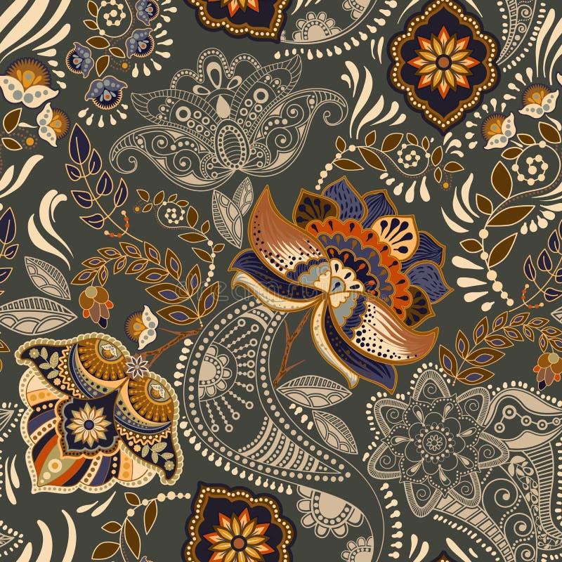 无缝五颜六色的花卉的模式 佩兹利装饰品 装饰花 为织品,卡片,网, decoupage设计 向量例证