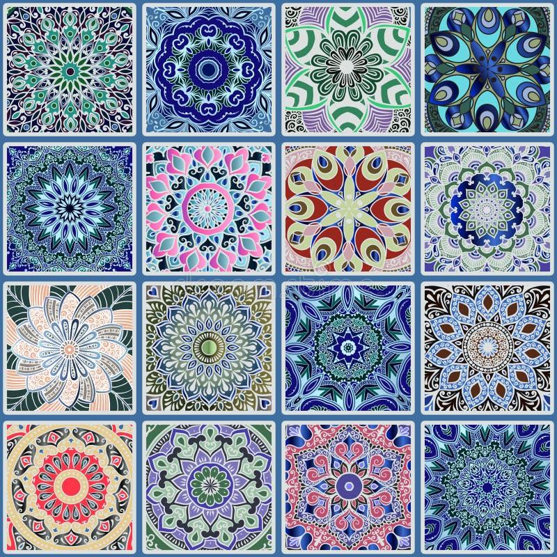 无缝五颜六色的花卉的模式 库存例证